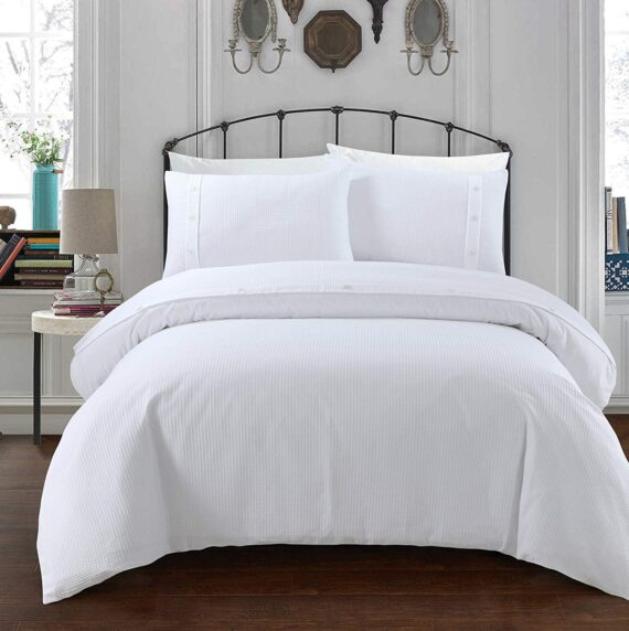 Sleepdown Simple and Classy Waffle Design White Duvet Cover and Pillow Cases Bedding Set with Buttons Closure (Double)