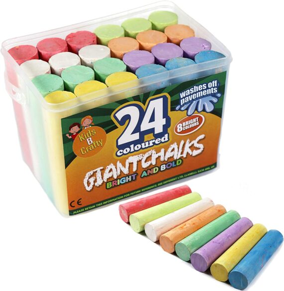 Kids B Crafty 24 Giant Bright Coloured Chalks Chunky Pavement Washable Fun For Children 8 Super Vibrant Colours - Outdoor - Garden School Drawing Games - Artists Imagination - Toddler - Chalkbard -