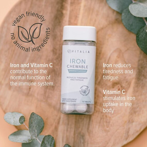 Vitalia ®   Chewable Iron Tablets with Vitamin C   Mineral Iron Supplement That Reduces Tiredness and Fatigue   Tasty Orange Flavour   Vegan Friendly - No Animal Ingredients   75 Tablets