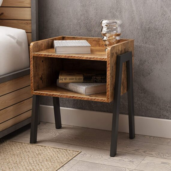 soges Night Stand End Table Bedside Table Telephone Side Table Small Corner Table Accent Furniture with Metal Frame Rustic Brown WK-D02
