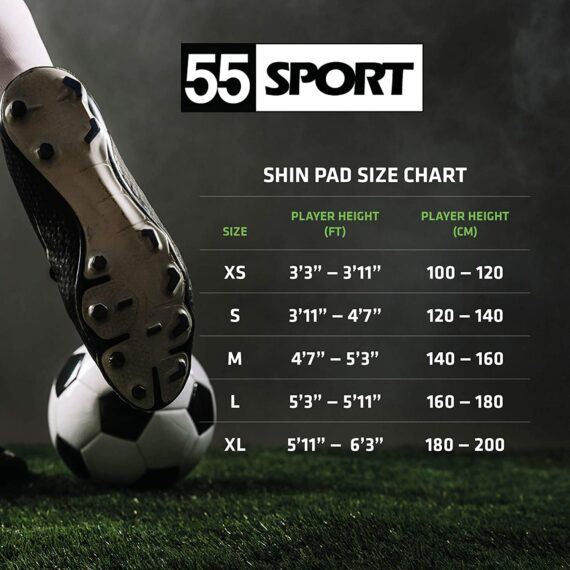55 Sport Vortex Club Protective Football Shin Guards with Ankle Protector