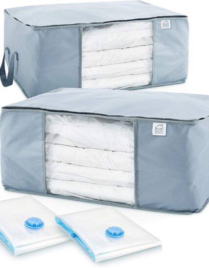 Hus Hus Large Storage Bags With Zips. Water Resistant 600D Oxford Fabric, 2pcs + 2pcs Vacuum Bags. For Clothes, Duvets and Bedding Storage. Underbed and Wardrobe Organisation.UK COMPANY