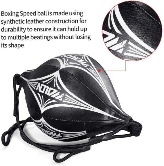 Kuyou Exercise Boxing Ball, Speed Training Ball Double-end Bags Leather Speed Bag Punching Dodge MMA with Ring Locking Fight MMA Training Speed Reactions Adult Improve Punch Focus Sport Fitness