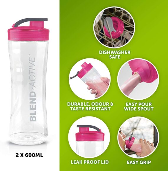 Breville Blend Active Personal Blender & Smoothie Maker with 2 Portable Blending Bottles (600ml), 300W, Pink [VBL134]