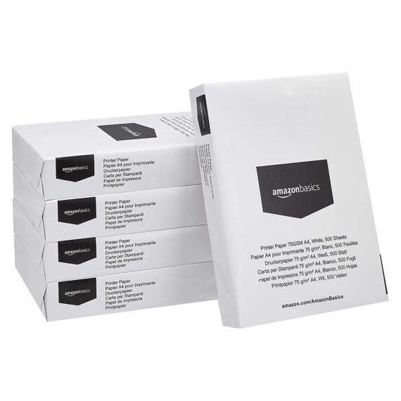 AmazonBasics Multipurpose Copy Paper A4 75gsm, 5x500 Sheets, White