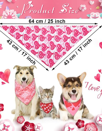 12 Pieces Valentine's Day Dog Bandana Triangle Bib Scarf with Heart and Love Patterns Reversible Pet Neckerchief Accessories for Dogs Cats Pets