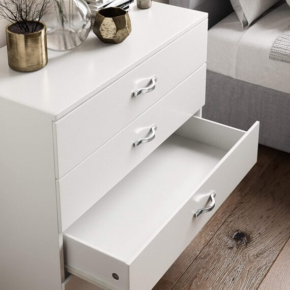 Vida Designs White Chest of Drawers, 4 Drawer With Metal Handles & Runners, Unique Anti-Bowing Drawer Support, Riano Bedroom Furniture