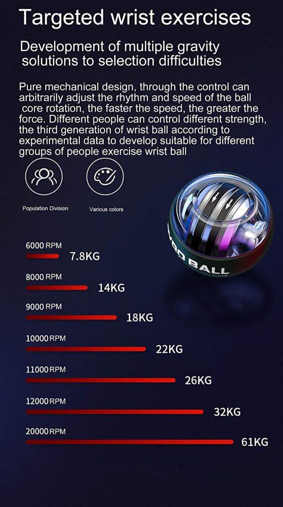 Auto start wrist power ball Hand grip Exerciser gyro ball Arm Exerciser force ball Strap Stress Ball Fitness Equipment With Led Spin Ball