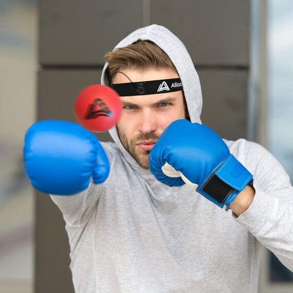 Alliance Athletic Boxing Reflex Ball - Adjustable Headband, Reaction Ball, Elastic String. Train Boxing, MMA, Fitness, Punching Accuracy, Timing, Reflexes. Safety Glasses Included