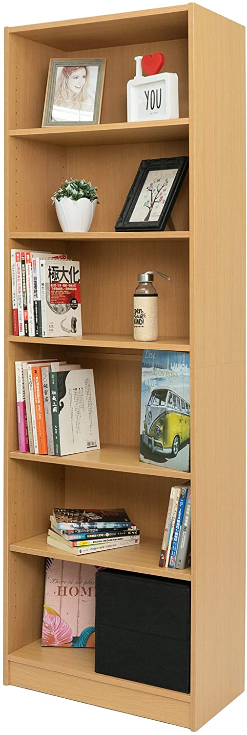 BuildRapido 6 Tier Tall Adjustable Bookcase Easy Video Assembly Strong Wooden Furniture Unit One Size