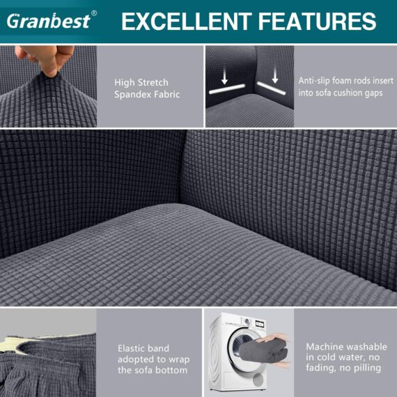 Granbest High Stretch Sofa Covers 4 Seater Super Soft Extra Large Couch Covers for Dogs Pets Cats Jacquard Spandex Non Slip Sofa Slipcover Furniture Protector with Elastic Bottom (4 Seater, Gray)