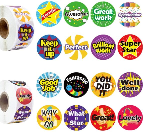 Reward Stickers, 1000 PCS 16 Assorted Designs Teacher Reward Stickers for Kids, School Stickers for Children, Potty Training Stickers Motivational Stickers, Teacher Supplies for Classroom (Word)