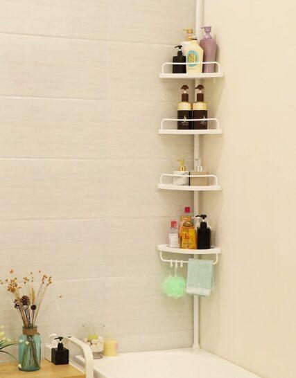 SONGMICS Adjustable Bathroom Corner Shelf, Telescopic Shower Caddy, 85-305 cm, Floor to Ceiling, with 4 Trays, 3 Hooks, White BCB001A