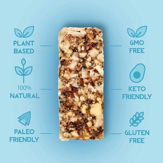 Adonis Keto Bar   Mixed Snack Bars   100% Natural Nut Snacks, Low Carb, Vegan, Gluten Free, Low Sugar, Paleo - Box of 5