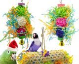 Aidiyapet Bird Toys,3 Packs Parakeet Bird Cage Toys Swing Chewing Hanging Parrot Perches with Bell,Wooden Ladder Hammock for Conures,Cockatiels,Budgie and Lovely Birds