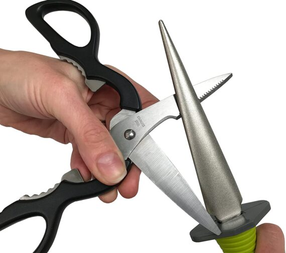 Davaon Pro Multi Tool Sharpener - Restores Blunt Blades Quickly - Diamond Coated 2 Sided Coarse & Fine - Best For Large and Small Garden Tools - Knives - Scissors - Comfort Soft Grip - Easy To Use