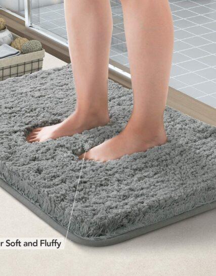 Lifewit Bath Mat Grey, Microfiber Soft Shag Super Water Absorbent Non-Slip Rubber Bathroom Rug, Thick, Machine Washable, 80 x 50 cm