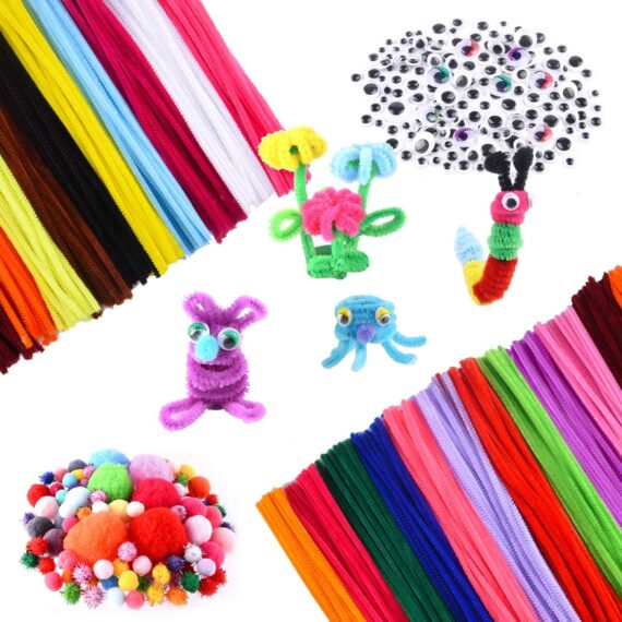 TUPARKA 2100 Pcs Arts and Crafts Supplies for Kids Includes Pipe Cleaners Pom Poms Sticks All in One DIY Crafts Supplies for DIY Activity Party