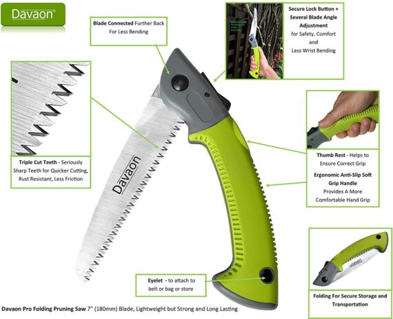 Davaon Pro Pruning Saw – Premium Folding Saw - Triple Cut Ultimate Sharp Blade – Best Tool for Garden, Tree Pruning, Camping – Rugged Durable Branch Trimmer – Comfort Soft Grip Tree Saw (Green/Grey)