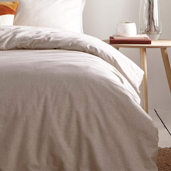 """The Linen Yard The Claybourne Duvet Set Beige-Tumbled Design-2 x Pillowcases Included Machine Washable-200 x 200cm (79"""" x 79"""" inches), Cotton, Putty, Double"""