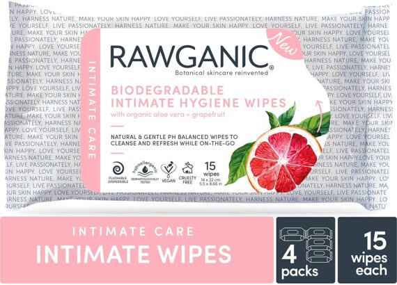 RAWGANIC Organic Intimate Hygiene Wipes   Hypoallergenic, Alcohol-Free, Fragrance-Free Flushable, Biodegradable Intimate Pre-Waxing Wipes   with Grapefruit and Aloe Vera   4 Packs (60 Wipes in Total)
