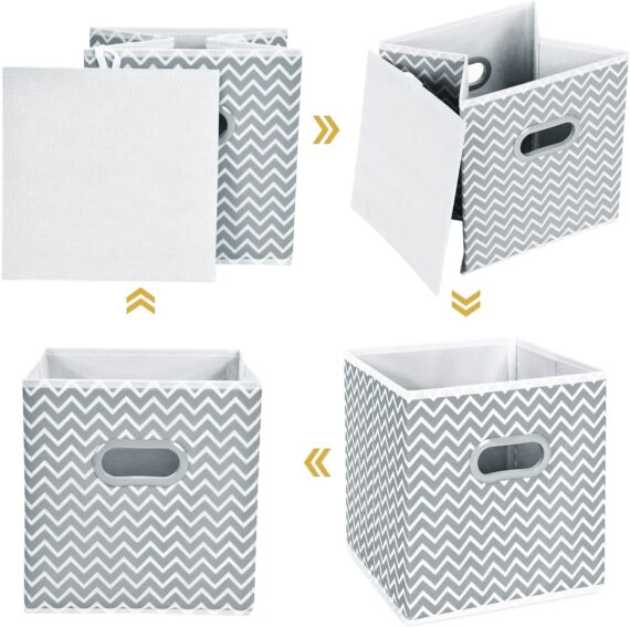 MaidMAX Fabric Storage Box, Set of 6 Foldable Organiser Cubes Basket Bin Drawers Containers with Dual Plastic Handles for Home Office Nursery Organisation, Grey Chevron,26.6 x 26.6 x 27.9(cm)