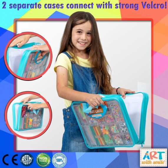 Art with smile Giant Art Case Set of 1,600+ Pc.– Arts and Crafts Supplies for Kids 6+ – DIY Projects Case Filled with Pom Pom Box Craft Kit, Beads, Buttons, Scissors, and Pipe Cleaners for Kids