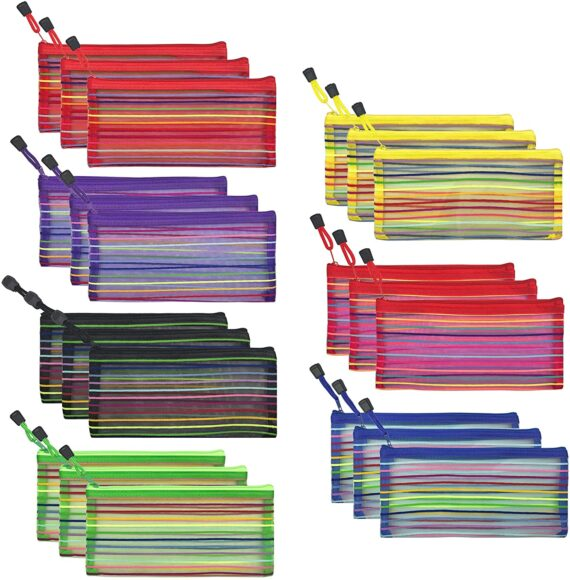 21 PCS 7 Colors Zipper Mesh Pouch to Storage Stationery Supplies Cosmetics Travel Accessories