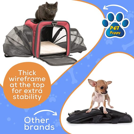 Pet Peppy Premium Airline Approved Expandable Pet Carrier TWO SIDE Expansion, Designed for Cats, Dogs, Kittens, Puppies - Extra Spacious Soft Sided Carrier! (RED)