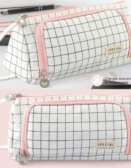 Pencil Case, BYSOU Big Capacity Pencil Pen Case Bag Pouch Holder for Middle High School Office College Stationery with Zipper (Pink and White)