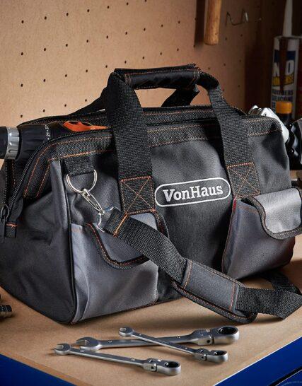 "VonHaus 15"" Tool Bag Organiser for Hand/Power Tools Large with Internal & External Pockets, Shoulder Strap & Zip Fastener"