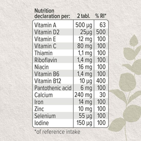 Vitalia ® | Vegan Multivitamin & Mineral Supplement | Vitamins for a Plant-Based Diet | Easy to Swallow Vitamin Tablets | Multivitamins for Vegans & Vegetarians – no Animal Ingredients | 110 Tablets