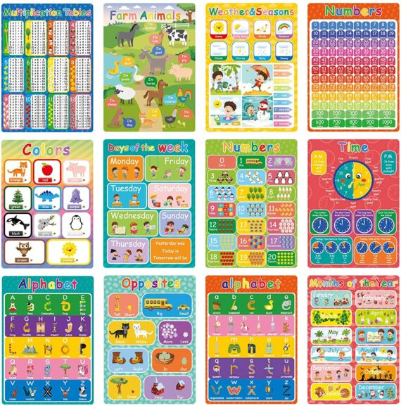 Whaline 12Pcs Educational Preschool Poster for Toddler and Kid Nursery Homeschool Early Learning Charts Classroom Wall Decoration for Kindergarten, Pre-K, Daycare, Toddlers, Children, 11.8 x 16.5 Inch
