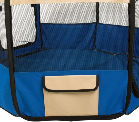 BIGWING Style Pet Play Pen Portable Foldable Puppy Dog Pet Cat Rabbit Guinea Pig Fabric Playpen Crate Cage Kennel Tent (XL, Deep Blue)