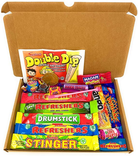 Retro Sweets Mini Selection Box: Box of 18 Childrens Sweets, Sweet Box for Birthdays, Party's, Pinata Fillers: Letterbox with 18 Treats: Swizzels Chew Bars, Popping Candy, by Greedy Gwin