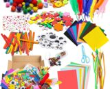 WATINC 1000Pcs DIY Art Craft Sets Supplies for Kids Toddlers Modern Kid Crafting Supplies Kits Include Pipe Cleaners, Colour Felt, Glitter Pom Poms, Feather, Buttons, Sequins